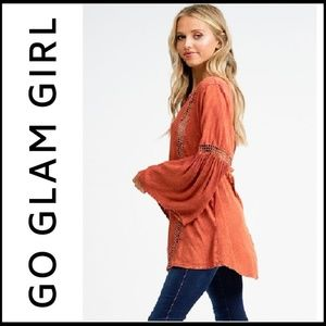 NWT Acid Washed Crocheted Rust Boho Tunic